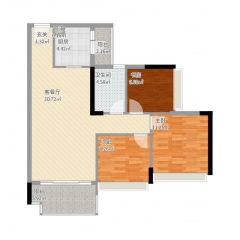 祥利上城3室1厅1卫1厨104.00㎡户型图