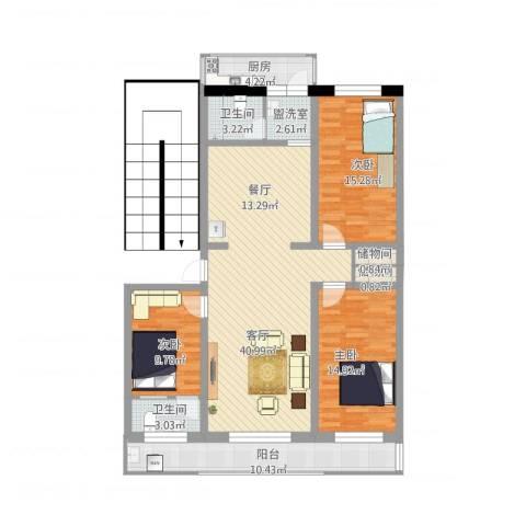 小安舍新村3室2厅2卫1厨156.00㎡户型图