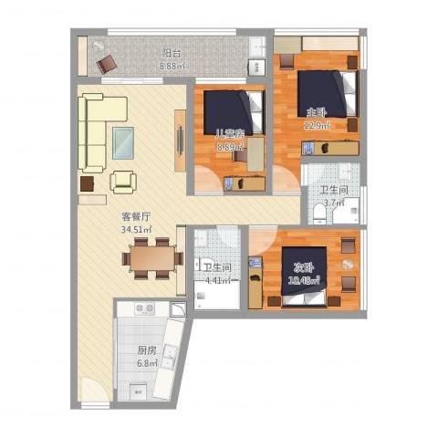 金地梅陇镇二期3室1厅2卫1厨130.00㎡户型图