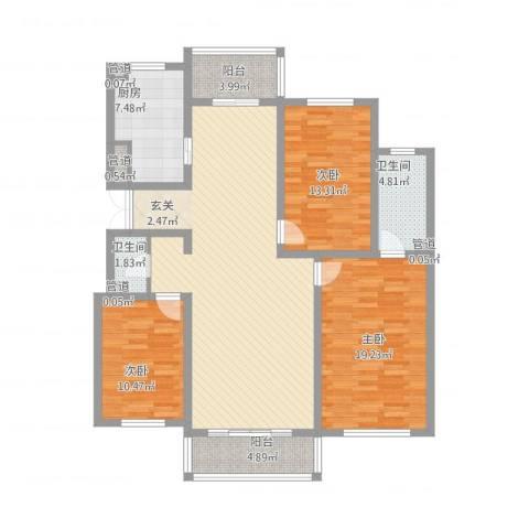 潭泽溪郡3室1厅2卫1厨155.00㎡户型图