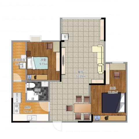光华可乐小镇2室1厅1卫1厨93.00㎡户型图