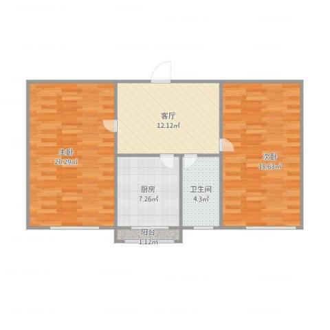 岗盛里2室1厅1卫1厨86.00㎡户型图