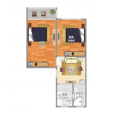 岭南路100弄小区2室1厅1卫1厨57.00㎡户型图