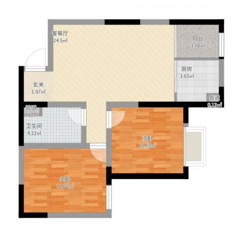 鼎新花园2室1厅1卫1厨84.00㎡户型图