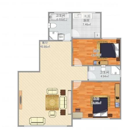 新里城和合苑2室1厅2卫1厨126.00㎡户型图
