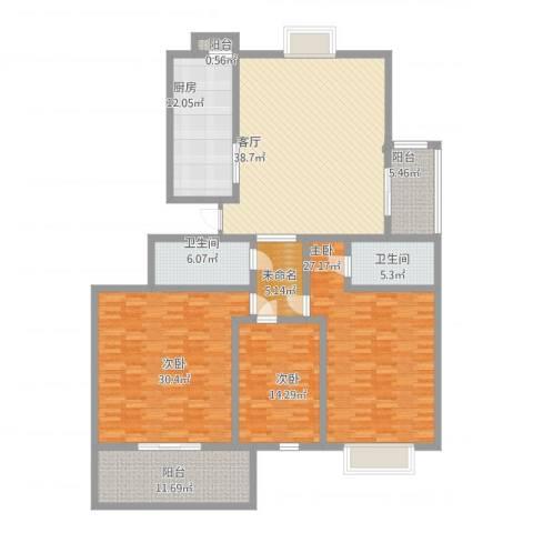 曲阜如意花园3室1厅2卫1厨223.00㎡户型图