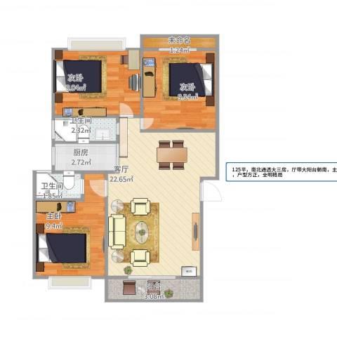 海韵园J梯01户型3室1厅2卫1厨84.00㎡户型图