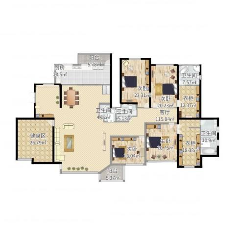 天元蓝城4室1厅5卫1厨428.00㎡户型图