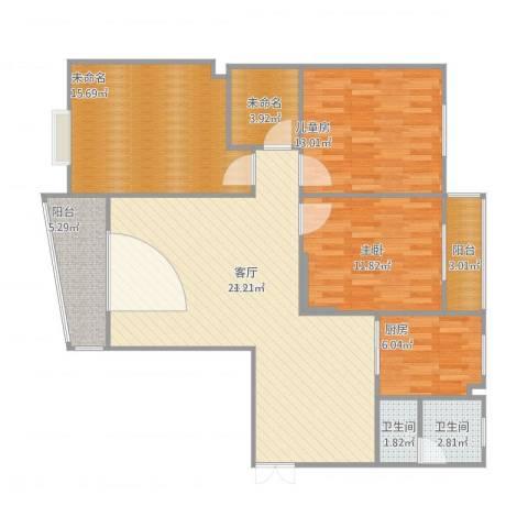 白云公馆2室1厅2卫1厨132.00㎡户型图