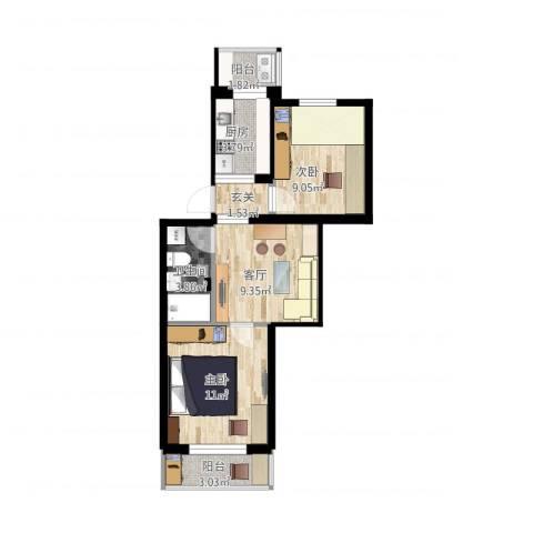 八里庄北里2室1厅1卫1厨64.00㎡户型图