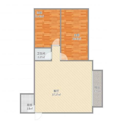 华宁花园2室1厅1卫1厨99.00㎡户型图