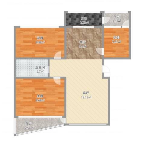 佳地外商花园3室1厅1卫1厨65.00㎡户型图