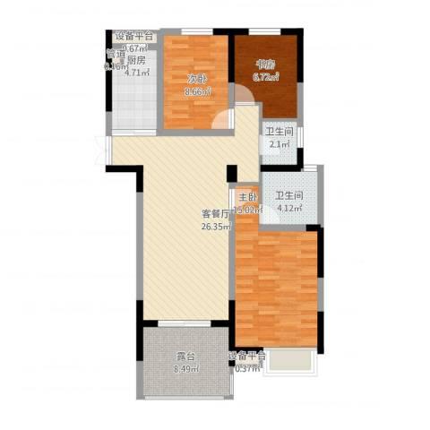 国耀花半里3室1厅2卫1厨112.00㎡户型图