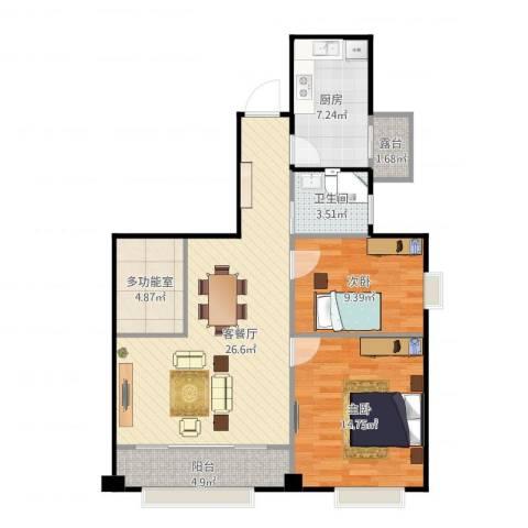 万达广场公寓2室1厅1卫1厨99.00㎡户型图