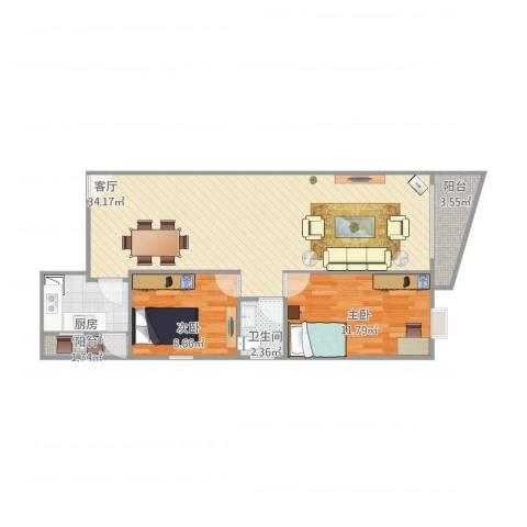 幸福花园2室1厅1卫1厨92.00㎡户型图