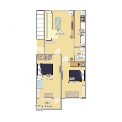 中景・盛世长安2室1厅1卫1厨96.00㎡户型图