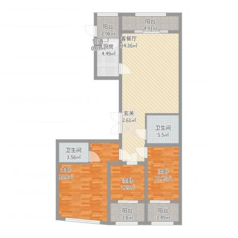 丽水阳光世纪城3室1厅2卫1厨145.00㎡户型图