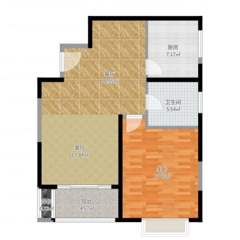 万里双子座1室1厅1卫1厨94.00㎡户型图