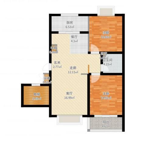 正大利农六号2室1厅1卫1厨124.00㎡户型图