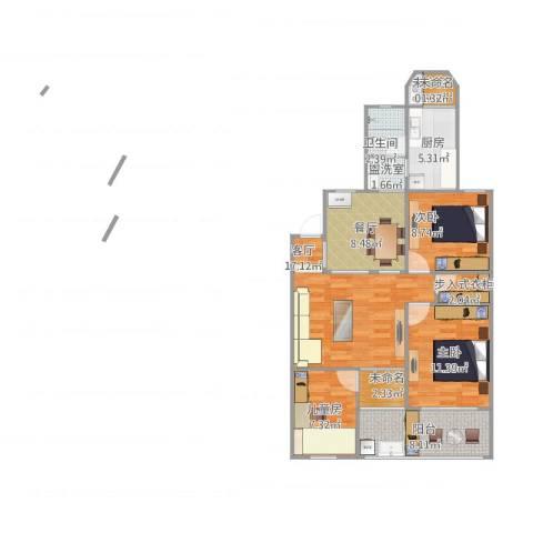 明月花园3室3厅1卫1厨105.00㎡户型图
