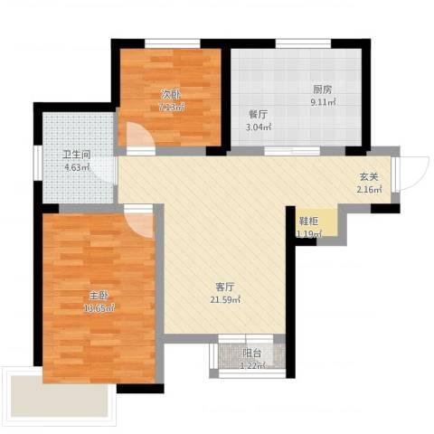 学仕府花园2室1厅1卫1厨83.00㎡户型图