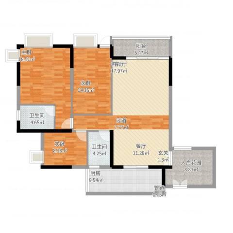 富力城时光里3室1厅4卫1厨157.00㎡户型图