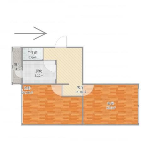 卧龙北里2室1厅1卫1厨101.00㎡户型图
