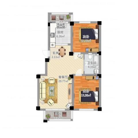 华城新视界2室1厅1卫1厨101.00㎡户型图