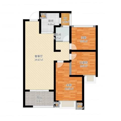 龙湖时代天街3室1厅1卫1厨123.00㎡户型图