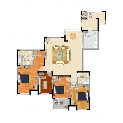 中环紫郡3室2厅2卫1厨222.00㎡户型图