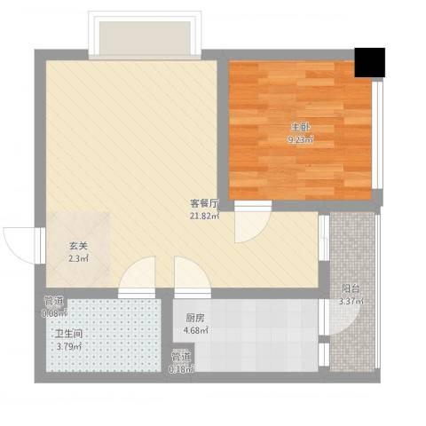 天奇渝中世纪1室1厅1卫1厨63.00㎡户型图