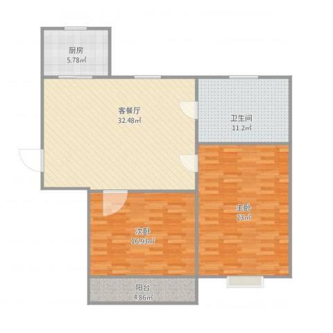 临芳苑2室1厅1卫1厨125.00㎡户型图