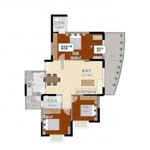 远大生态风景二期栖景湾3室1厅3卫1厨144.00㎡户型图