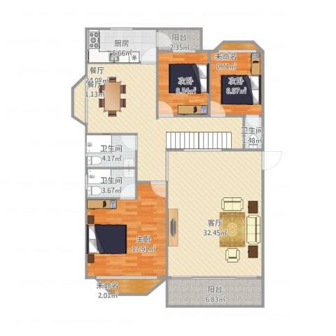 丽水湾3室3厅3卫1厨163.00㎡户型图