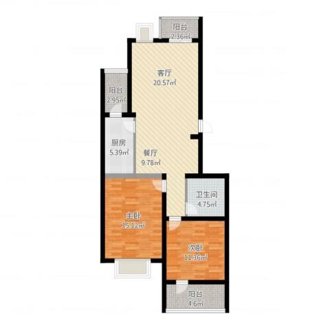 昌明伴山苑2室1厅1卫1厨88.31㎡户型图