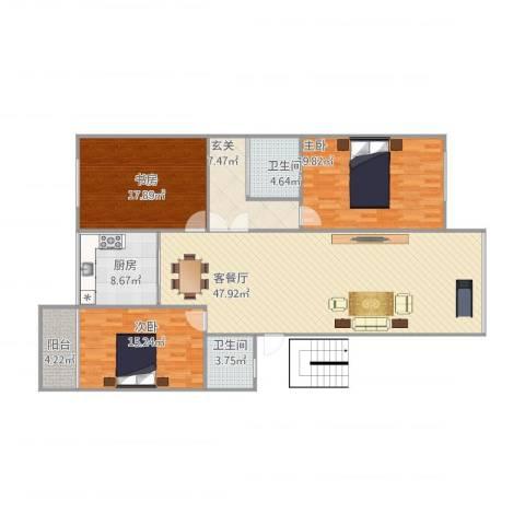华清中心城二期3室1厅2卫1厨172.00㎡户型图