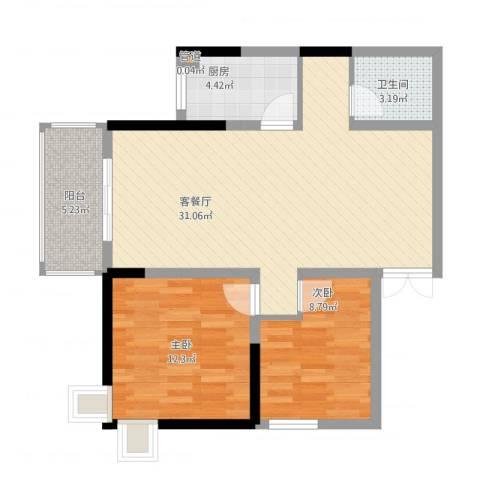 金泰丝路花城2室1厅2卫1厨93.00㎡户型图