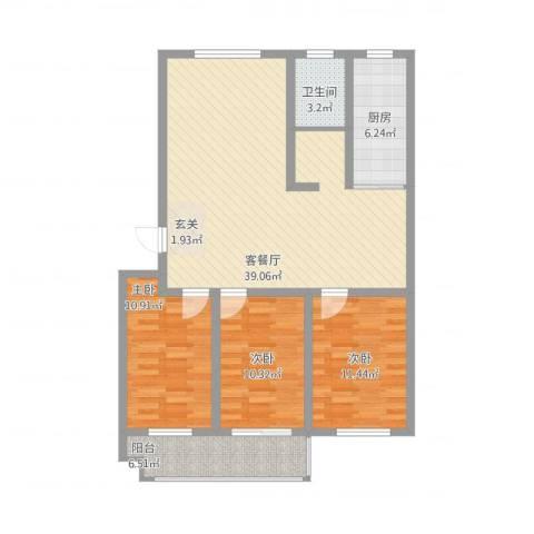 海化阳光花园3室1厅1卫1厨125.00㎡户型图