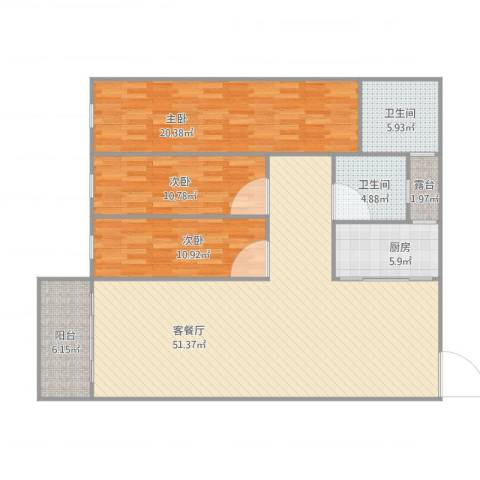 顺联新城花园3室1厅2卫1厨158.00㎡户型图