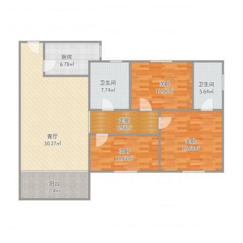 豪兴苑D座4033室1厅2卫1厨138.00㎡户型图