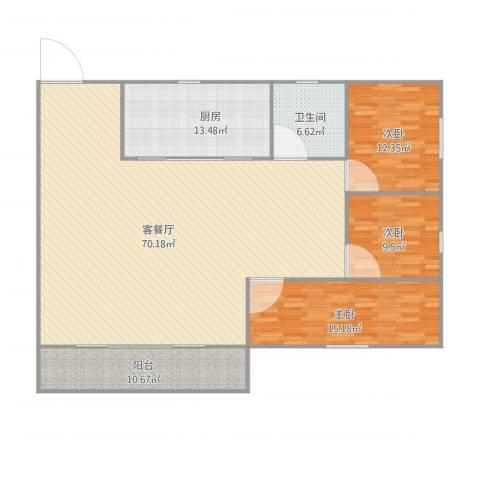 顺联新城花园3室1厅1卫1厨182.00㎡户型图