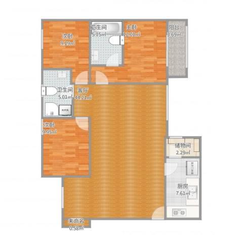 阿亚拉雅境3室1厅2卫1厨134.00㎡户型图