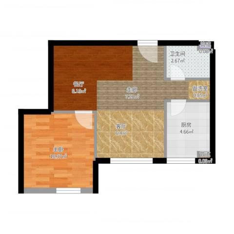 珠江广场1室1厅1卫1厨45.42㎡户型图