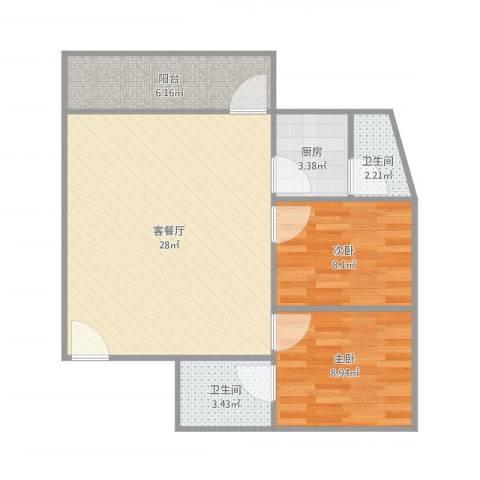 银华楼2室1厅2卫1厨81.00㎡户型图