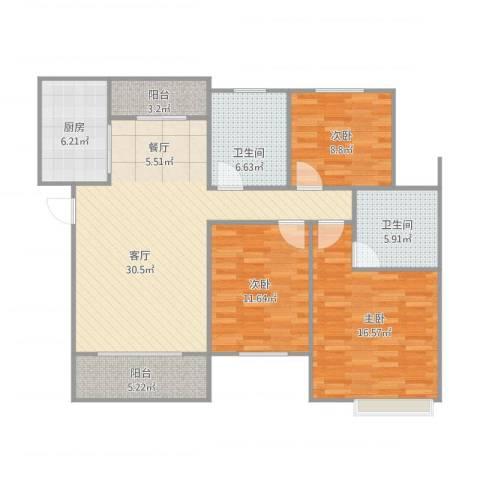 春江花园3室1厅2卫1厨128.00㎡户型图