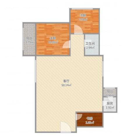 新燕花园3室1厅1卫1厨109.00㎡户型图