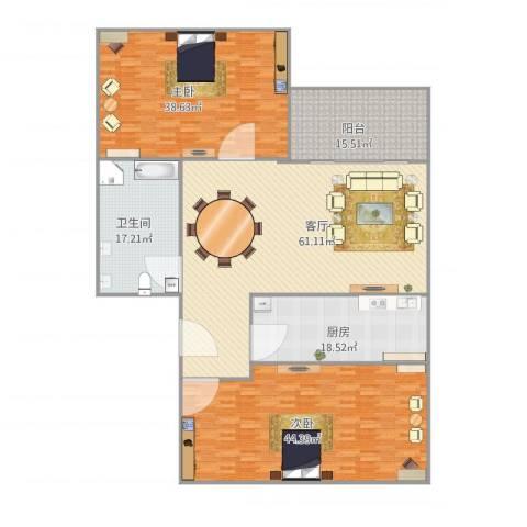 吕岭花园2室1厅1卫1厨255.00㎡户型图