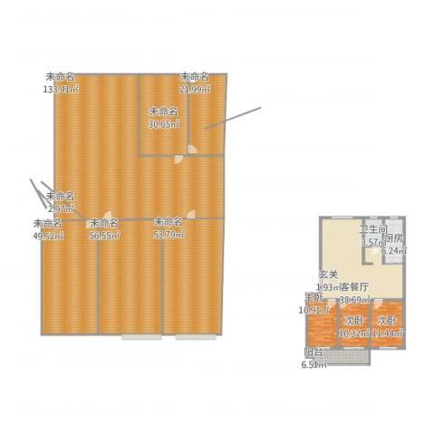 海化阳光花园3室1厅1卫1厨577.00㎡户型图