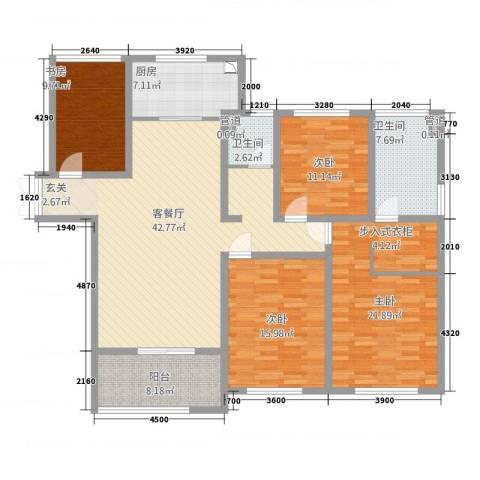 金鹰国际公馆4室1厅2卫1厨170.00㎡户型图