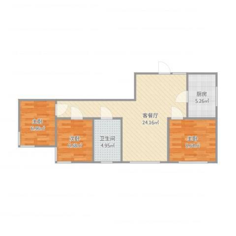 中信・御园3室1厅1卫1厨77.00㎡户型图